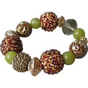 """My Secret Garden"" Lampwork Art Glass Bead Artisan Stretch Bracelet, ""Fall Pods"" #B3"