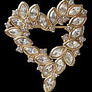 Vintage Signed MONET Marquise Rhinestone MODERNIST Heart Pin