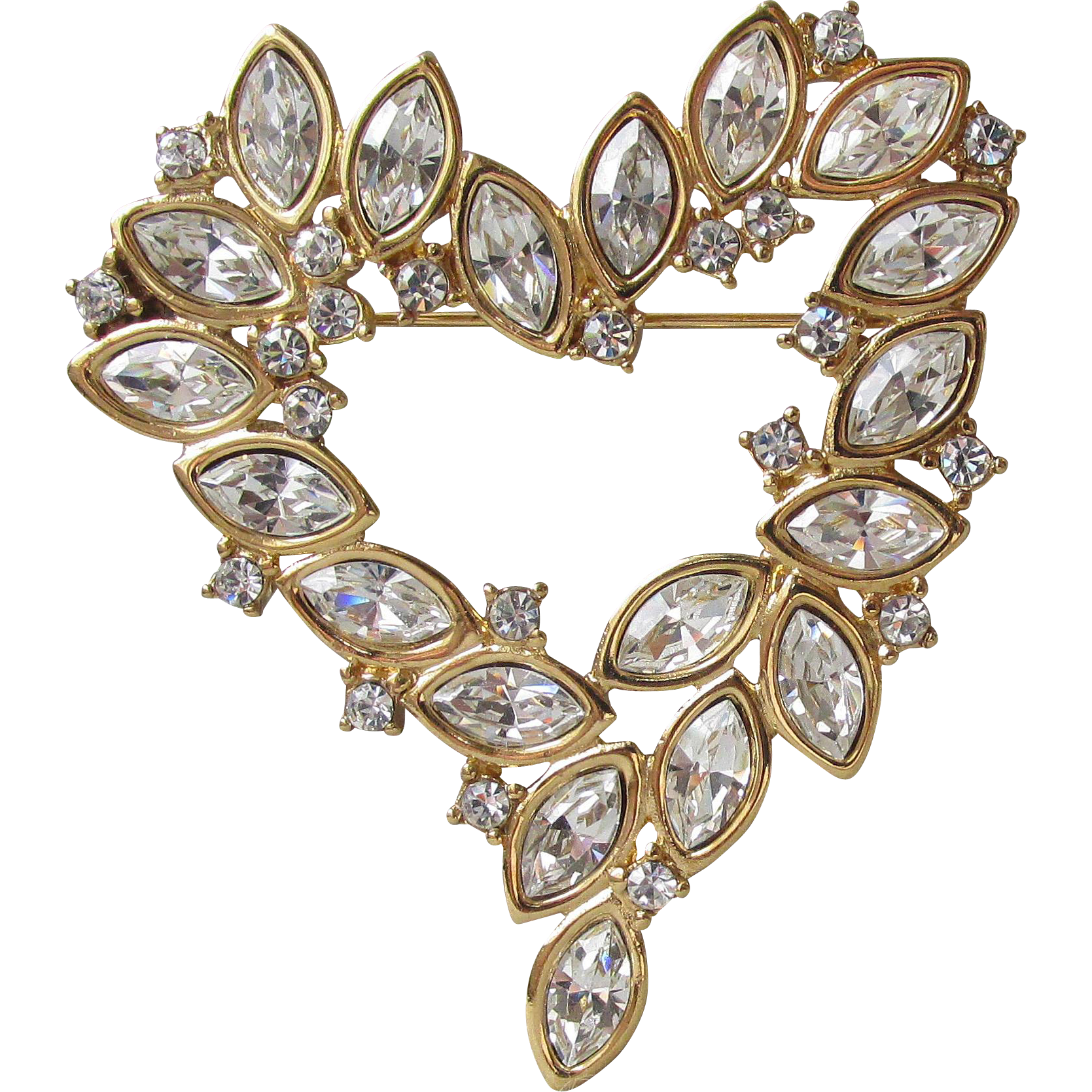 Vintage Signed MONET Marquise Rhinestone MODERNIST Heart Pin