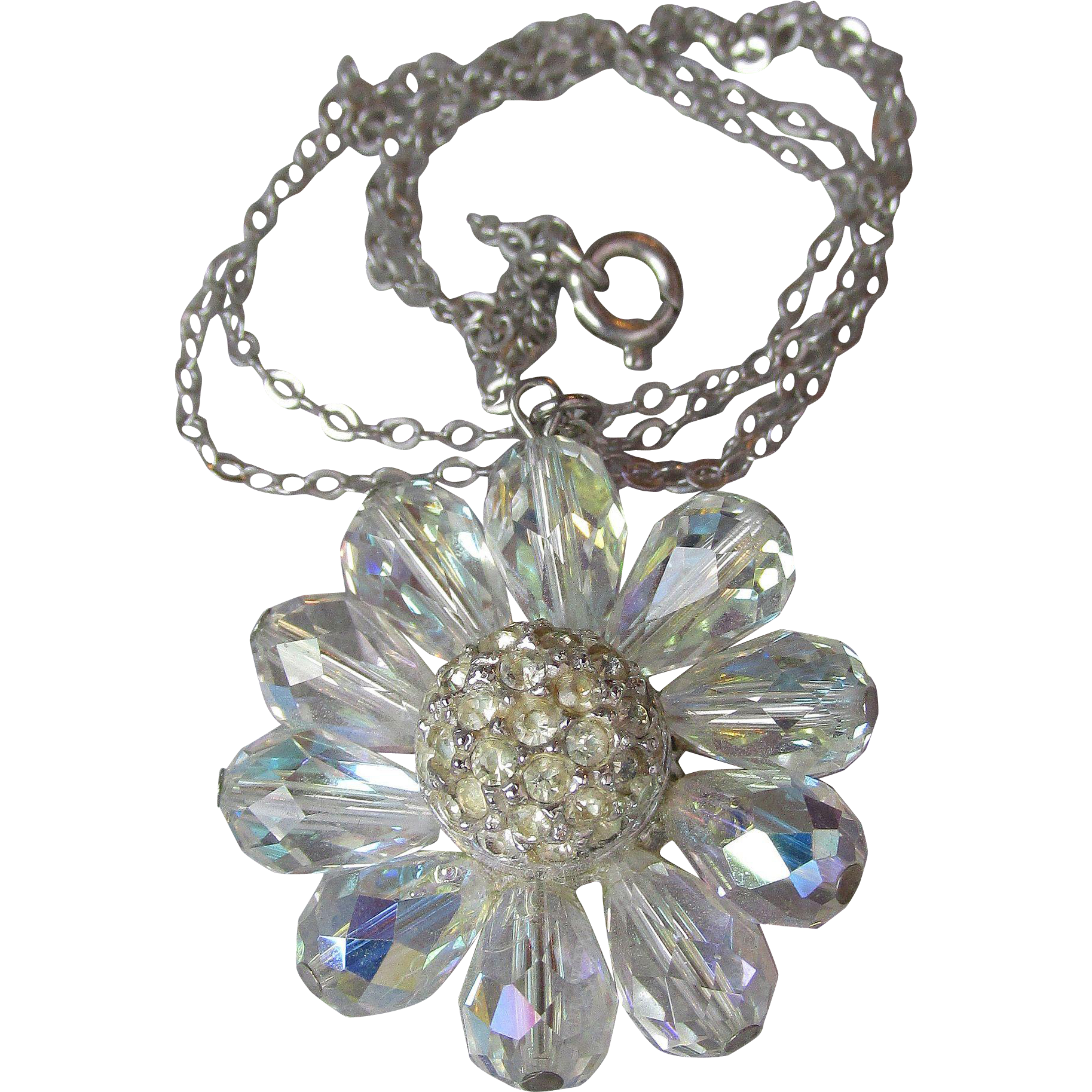 Brilliant Vintage AB Briolette Crystals & Rhinestone Flower Sterling Silver Pendant Necklace