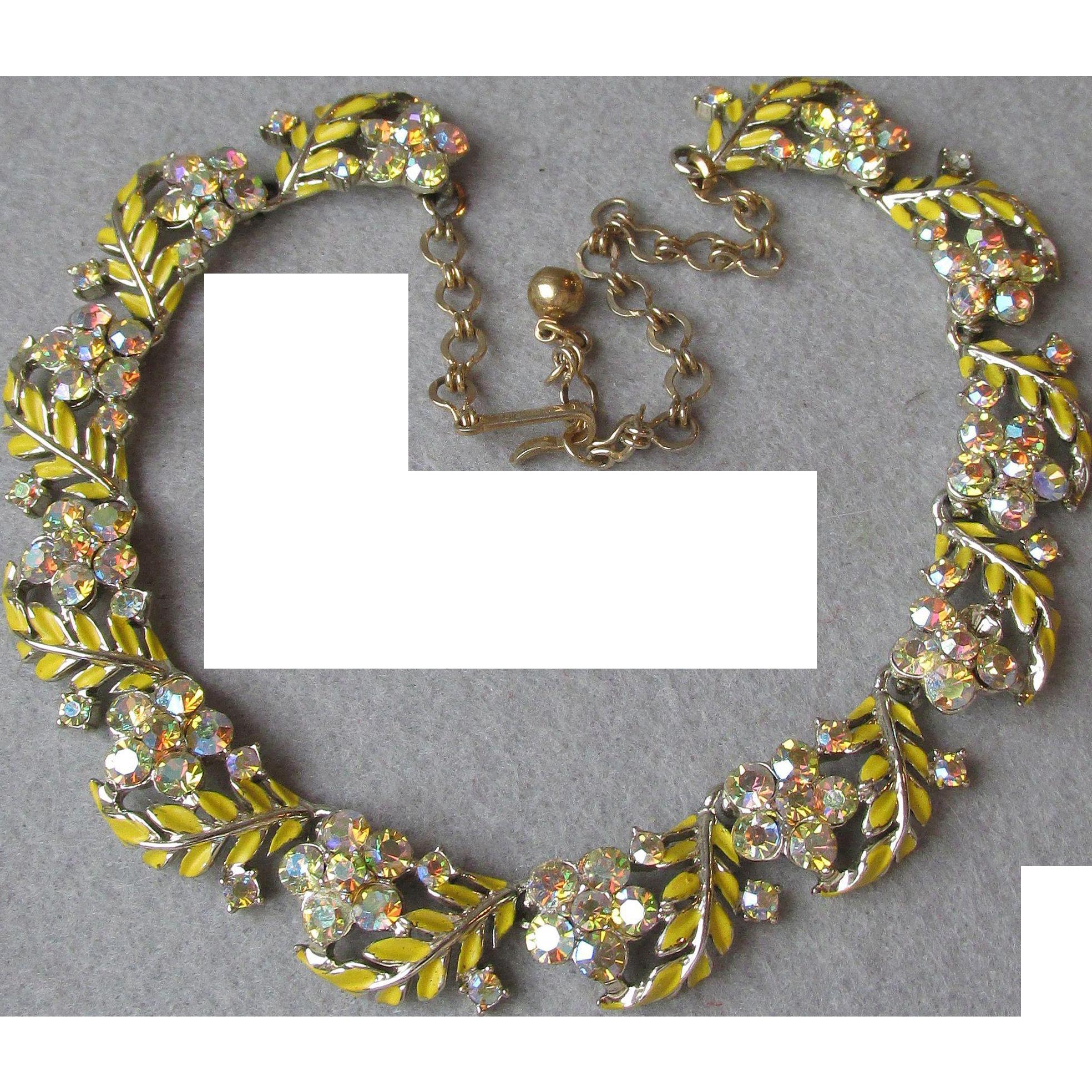Vintage 1950's Signed CHAREL Yellow Enamel & AB Rhinestone Leaf Flower Link Necklace
