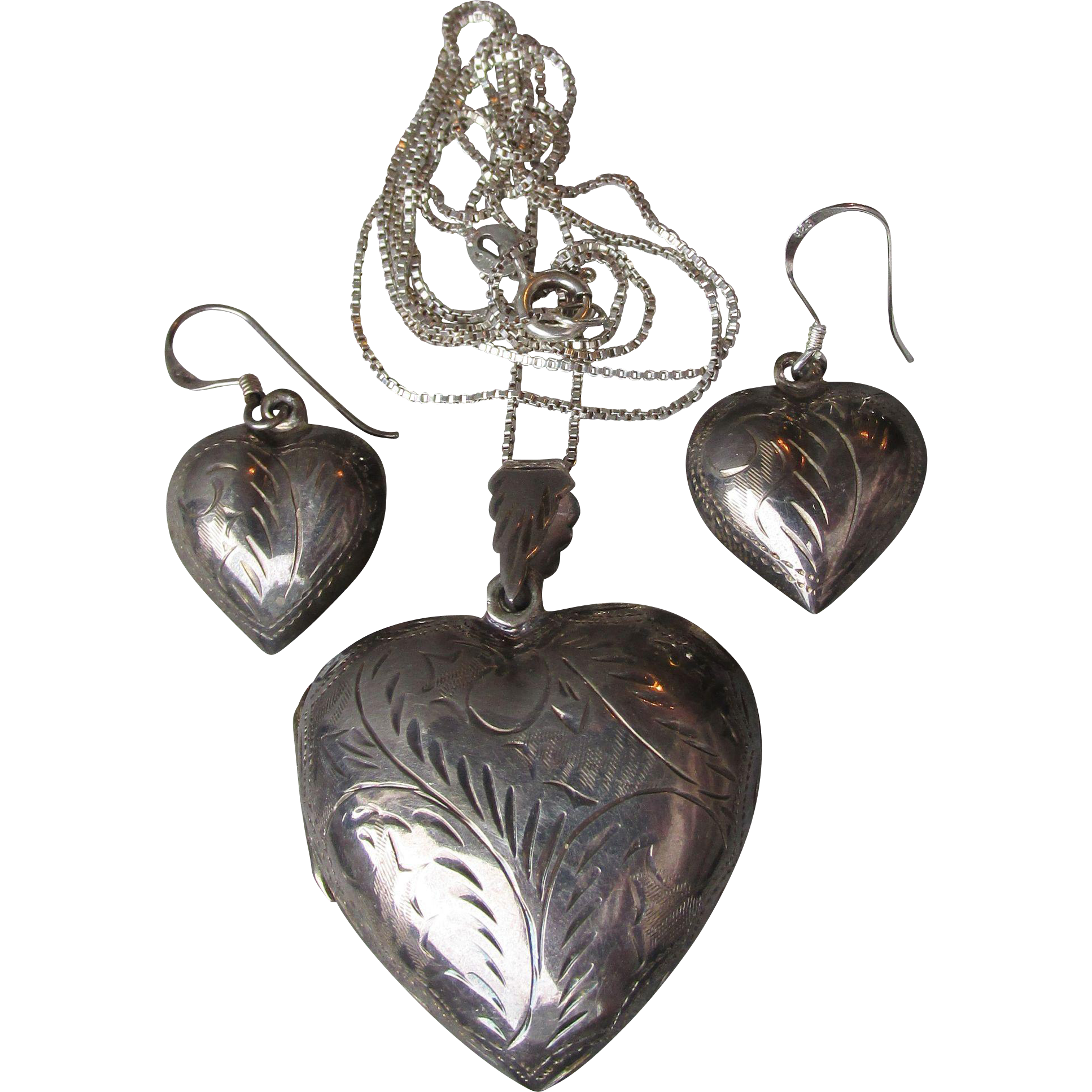 Vintage Black Sterling Silver Etched Puffy Heart Locket Necklace & Pierced Earrings Set