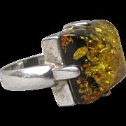 Vintage Modern Square Genuine Honey Amber Sterling Silver Ring, Size 6.5