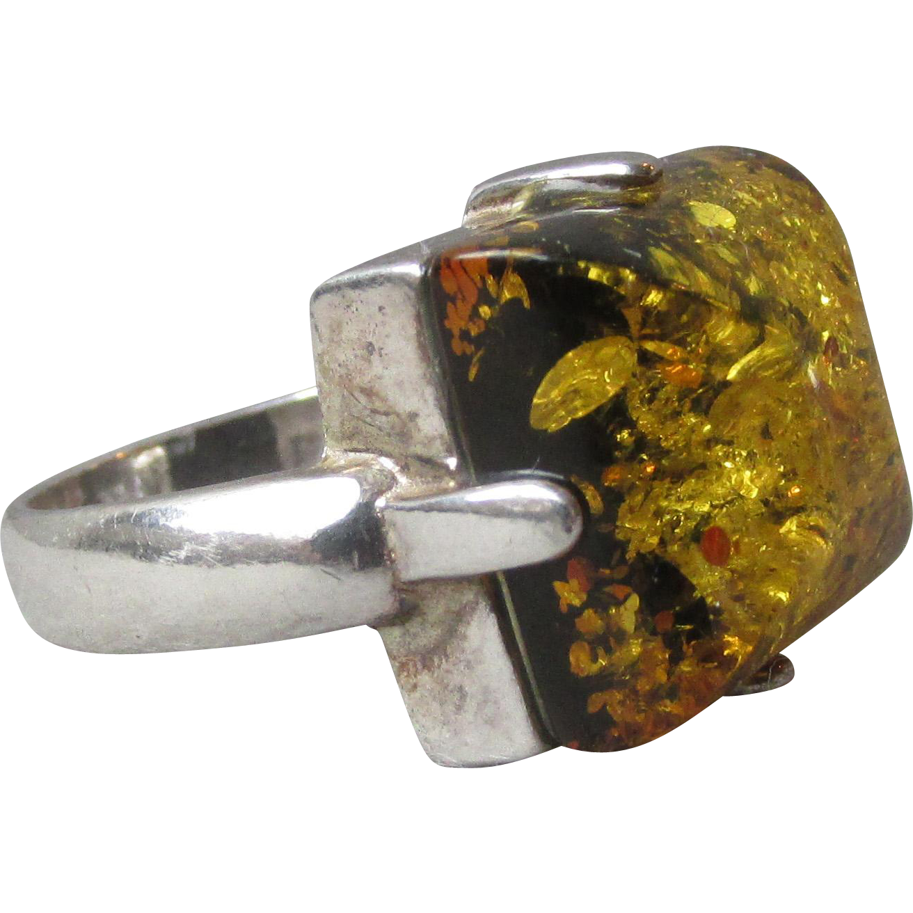 Vintage Modern Square Genuine Honey Amber Sterling Silver Ring, Size 6.5