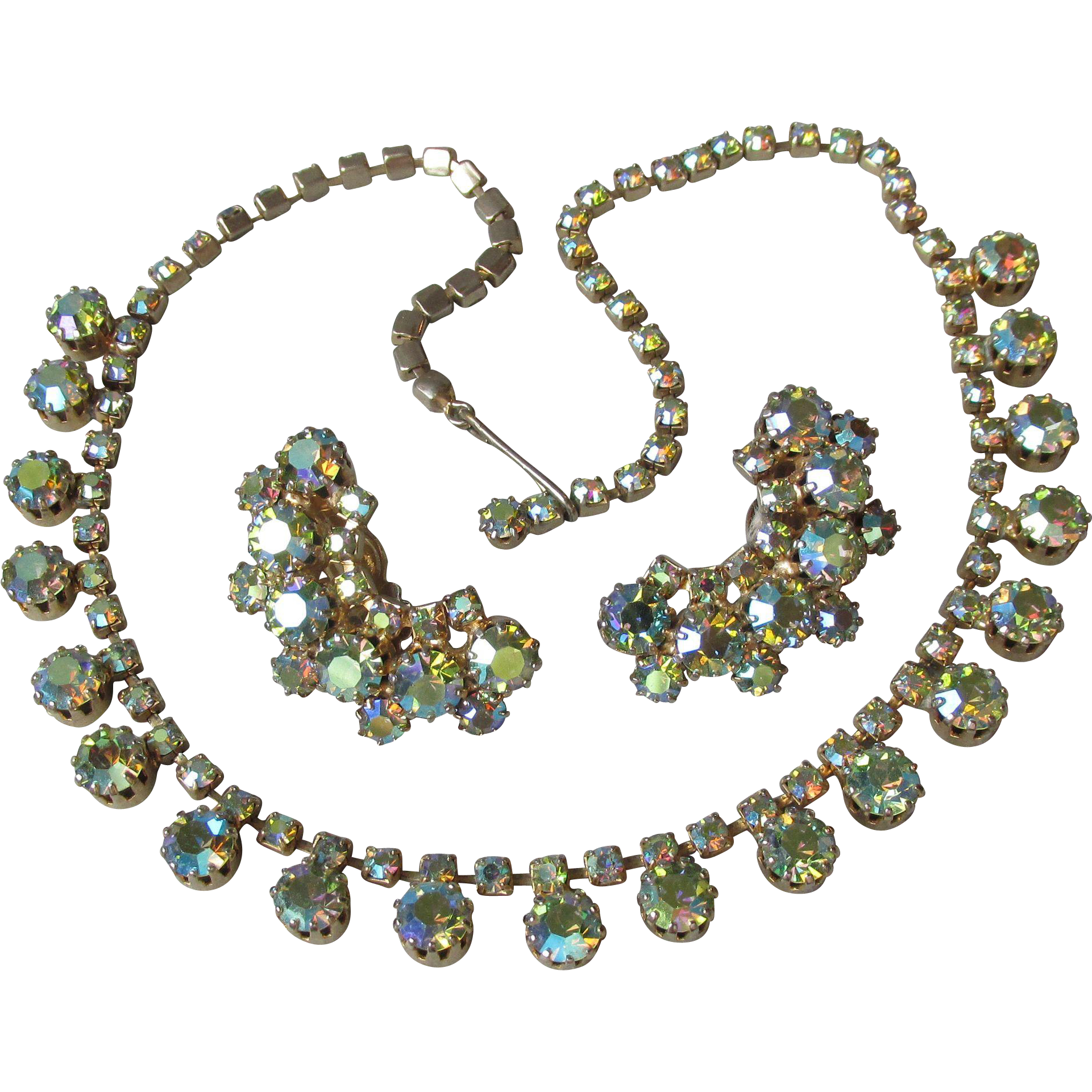 Vintage Unsigned Weiss Green Aurora Borealis Rhinestone Necklace & Earrings Set