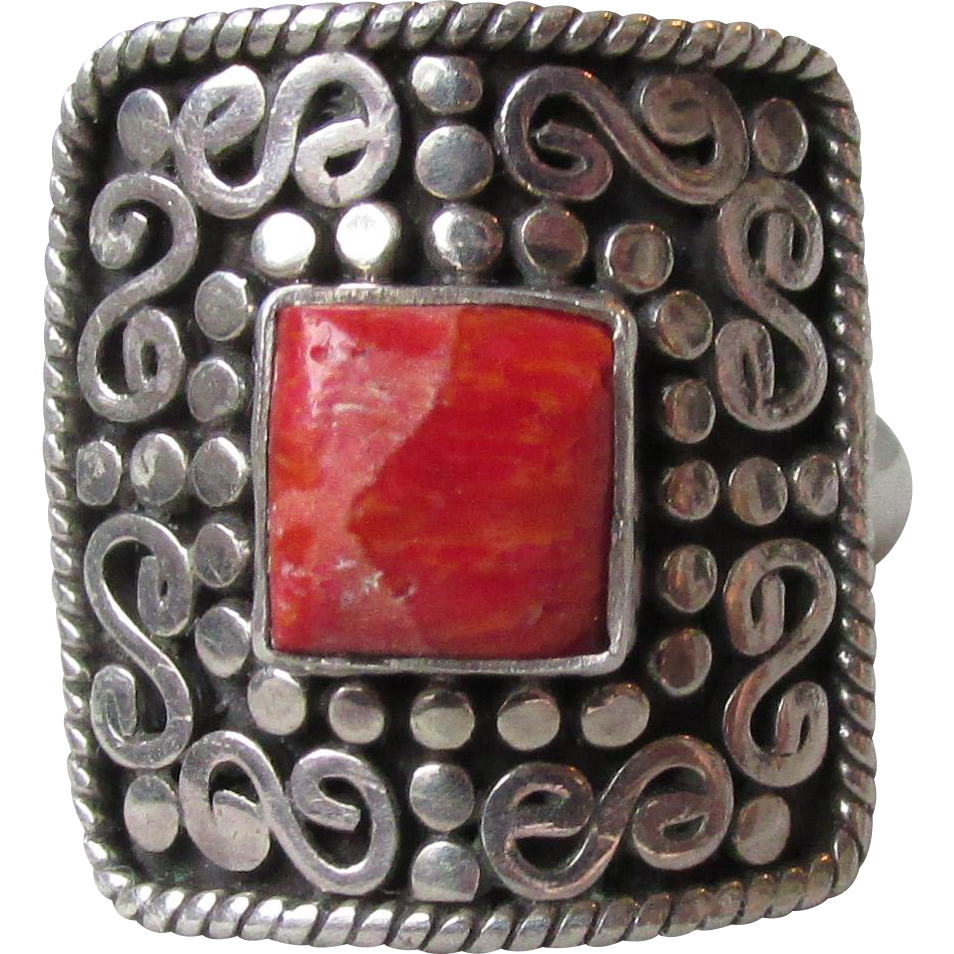 Sterling Silver & Red Coral Big Square Vintage Bali Ring
