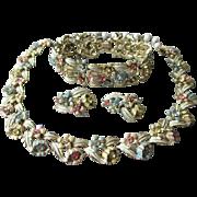 Vintage Signed CORO Pastel Rhinestone & Enamel Flower Link Parure, Necklace, Bracelet, Earrings Set