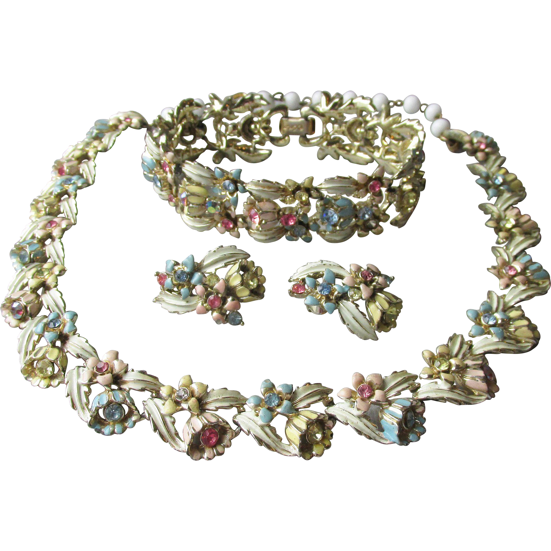 Vintage Signed CORO Pastel Rhinestone & Enamel Flower Link Parure, Necklace, Bracelet, Earrings Set