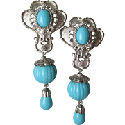 """Vintage Jose Barrera for Avon """"American Style"""" Earrings in Turquoise & Silver Tone"""