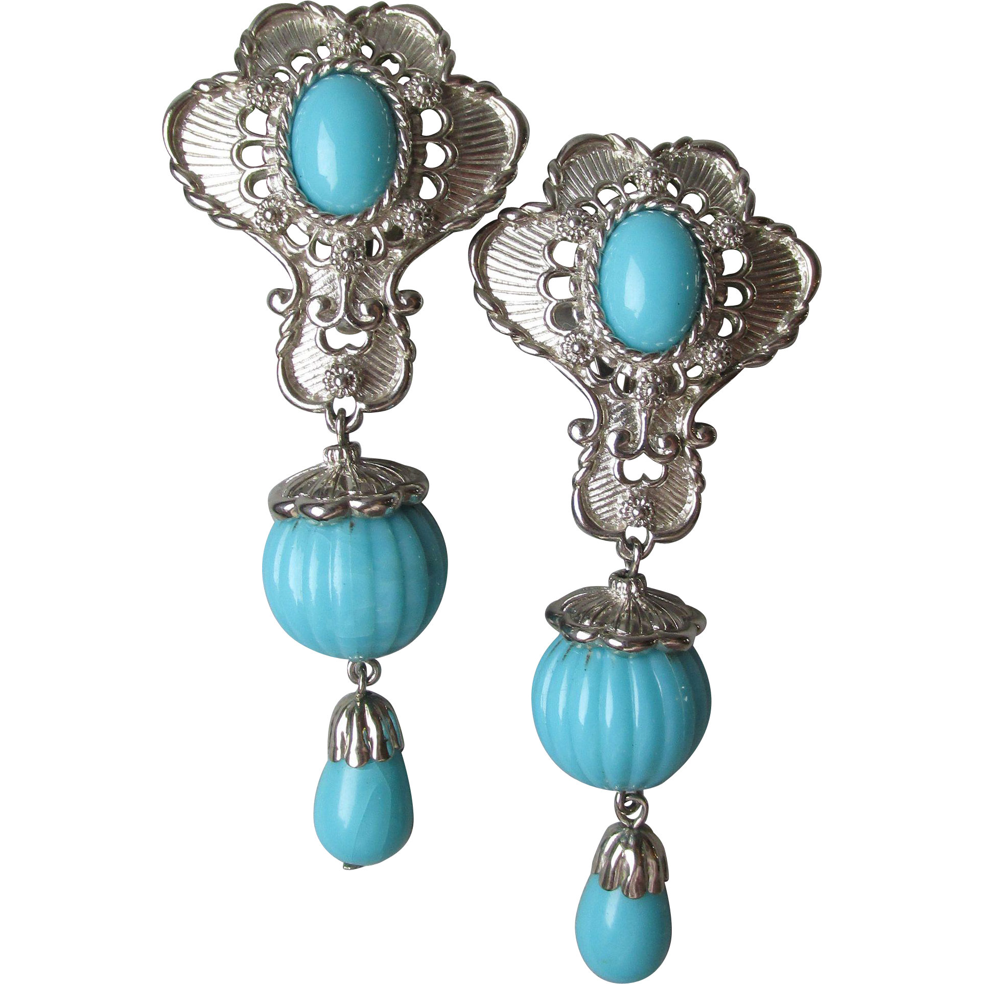 "Vintage Jose Barrera for Avon ""American Style"" Earrings in Turquoise & Silver Tone"