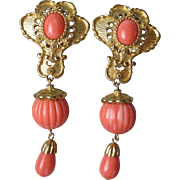 """Vintage Jose Maria Barrera for Avon """"American Style"""" Earrings in Coral & Gold Tone"""