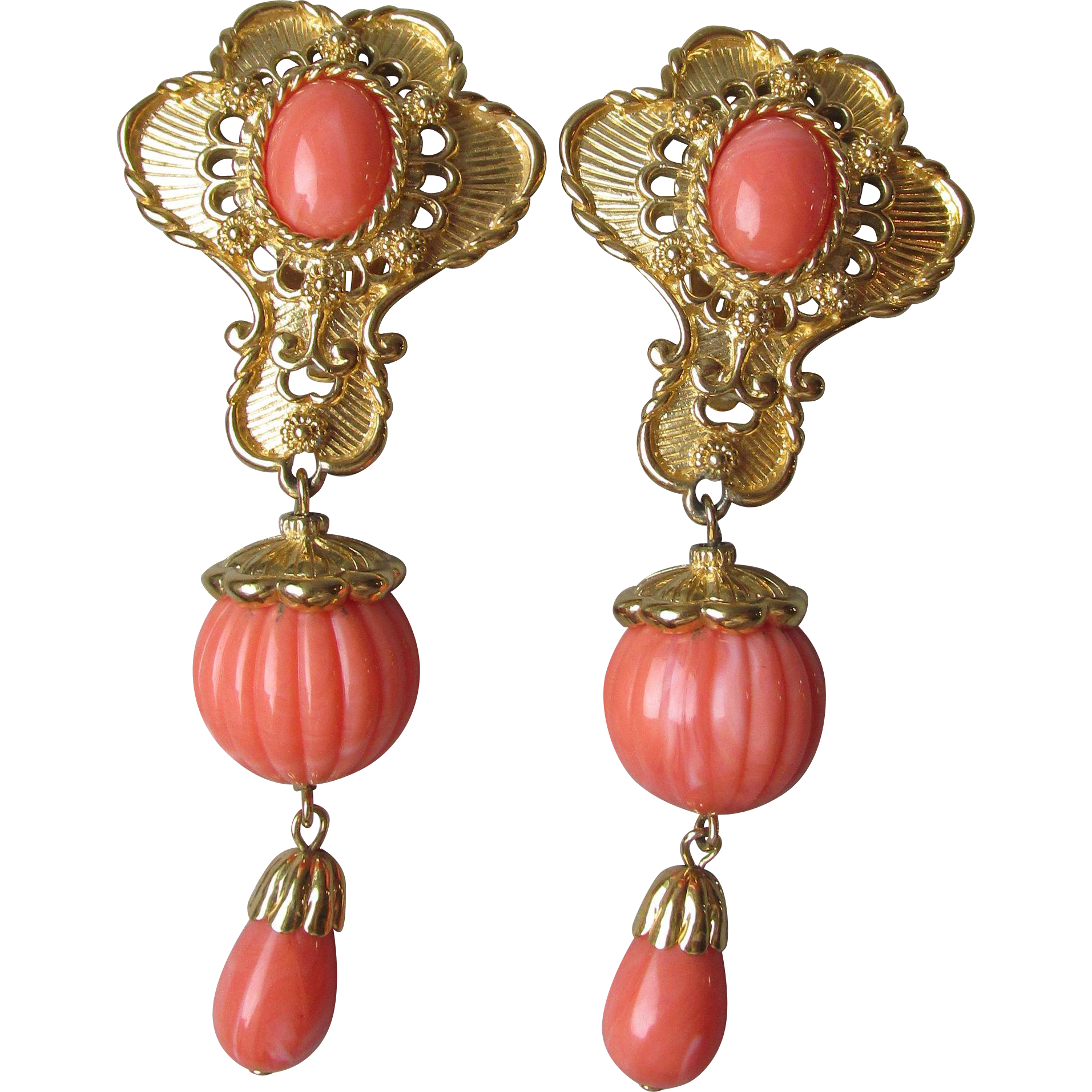 "Vintage Jose Maria Barrera for Avon ""American Style"" Earrings in Coral & Gold Tone"