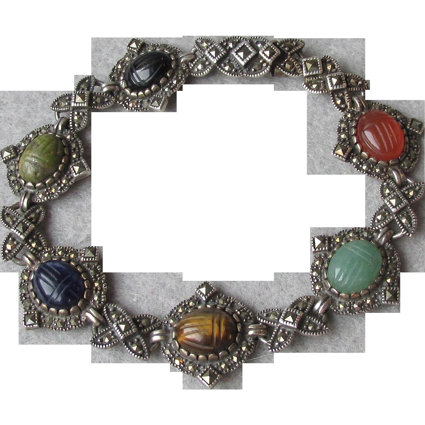 Gorgeous Vintage Genuine Gemstone Scarab Bracelet in Sterling Silver & Marcasite