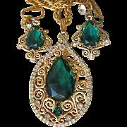 Juliana D&E Emerald Green Rhinestone Wire Work Scroll Filigree Necklace & Earrings Set