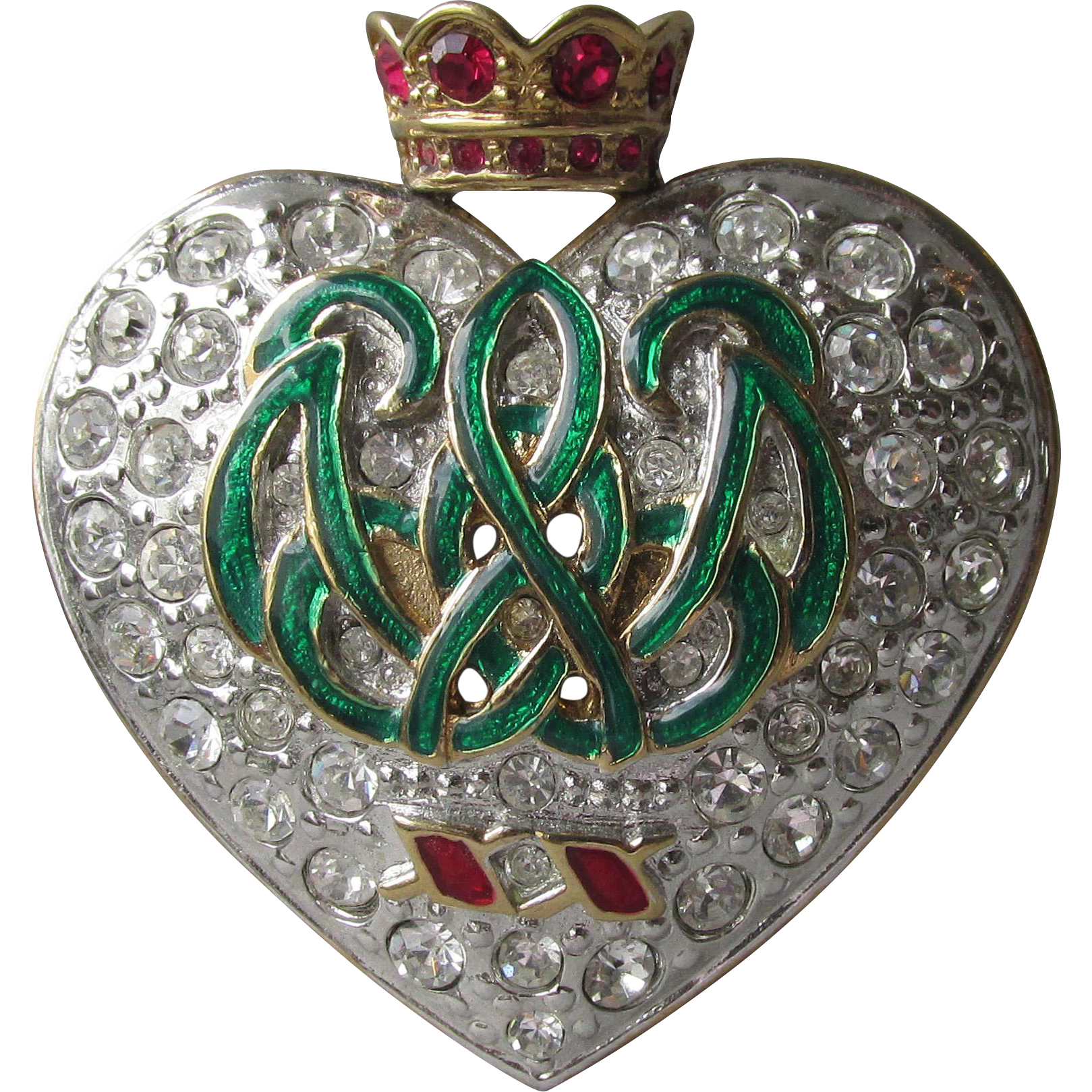 Vintage Signed CAROLEE Duchess of Windsor Swarovski Rhinestone Enamel Heart Crown Pin