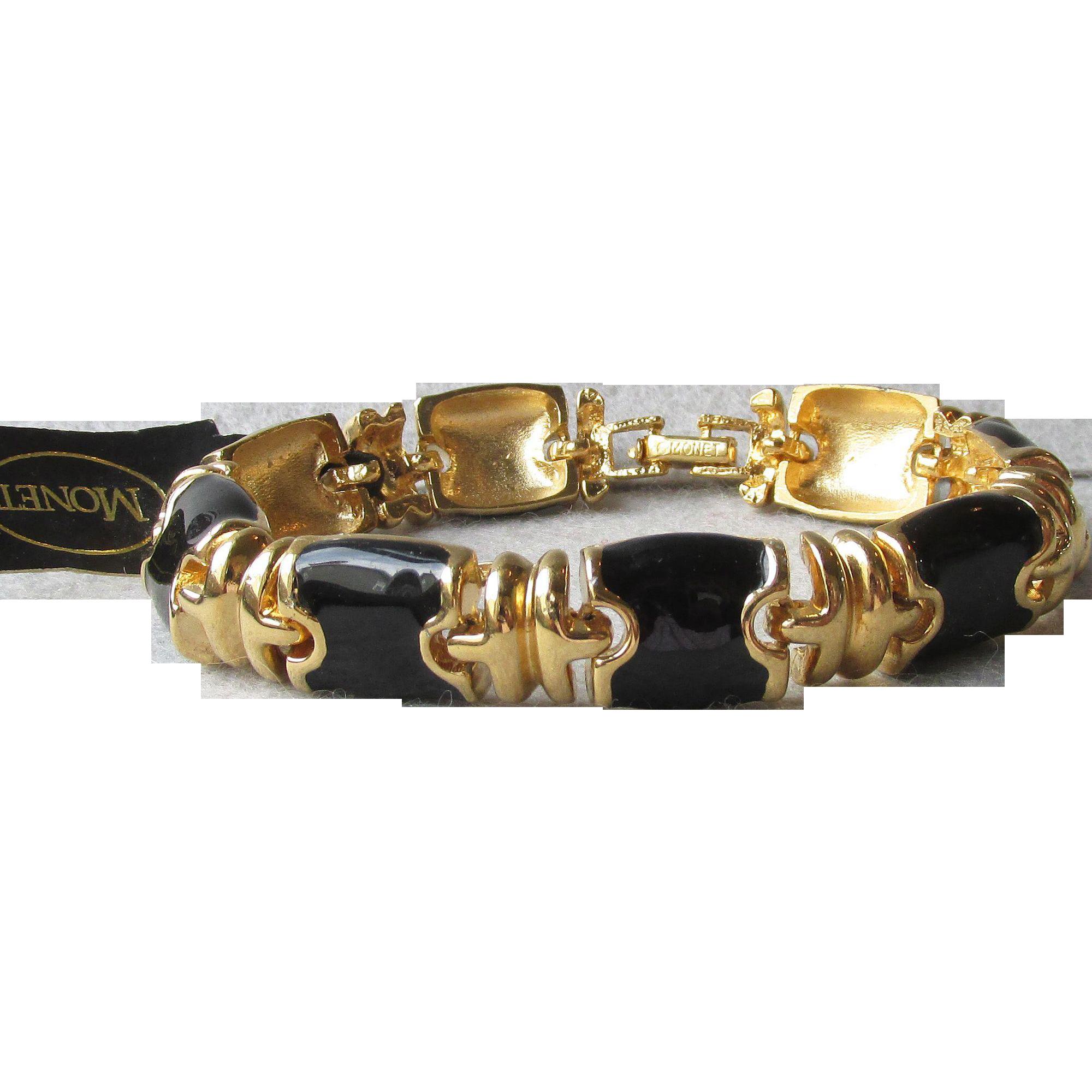New with Tag - Vintage 1990's MONET Black Enamel Etruscan Gold Tone Link Bracelet