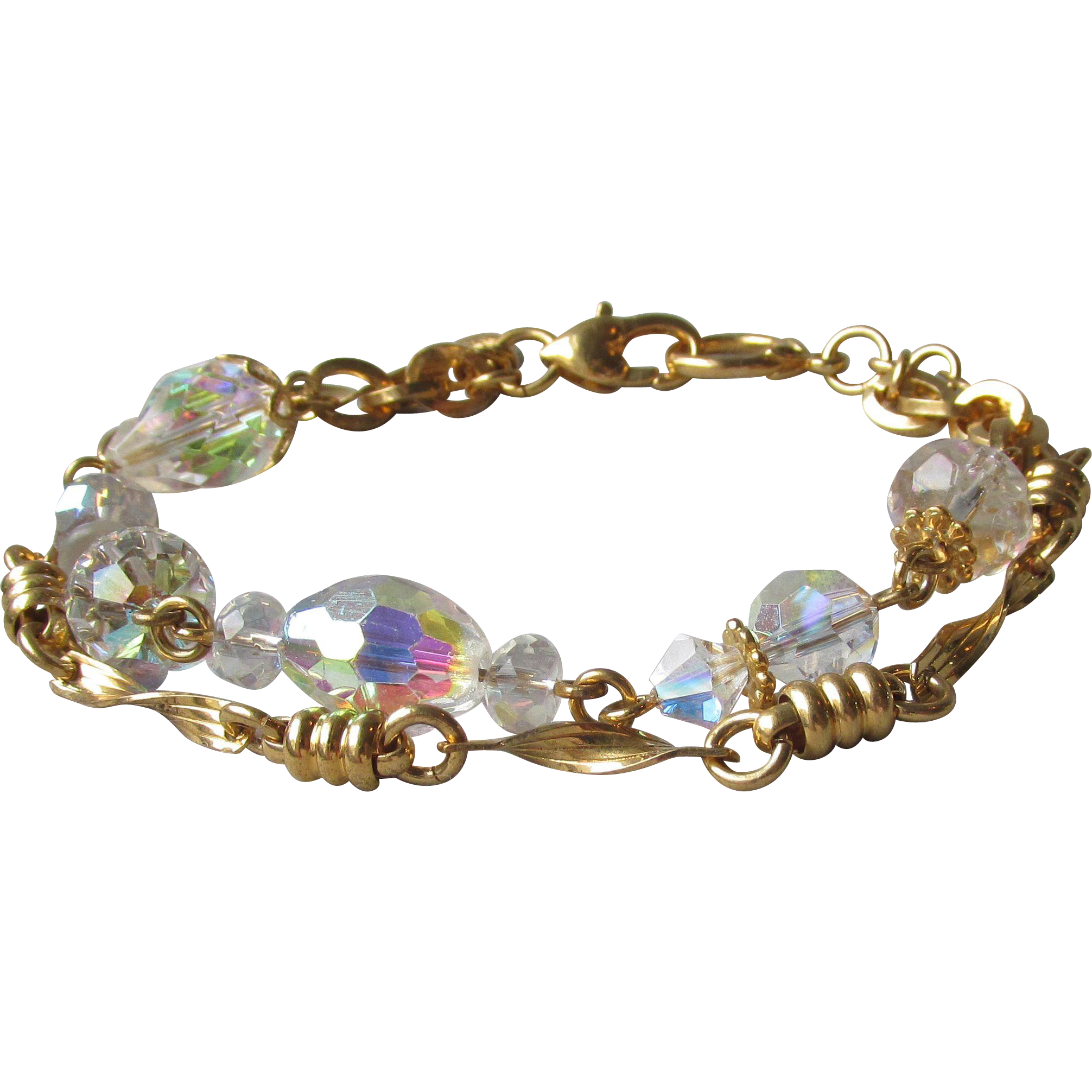 Kirks Folly Vintage Two Strand AB Crystal & Gold Tone Chain Bracelet, Size Large 8""