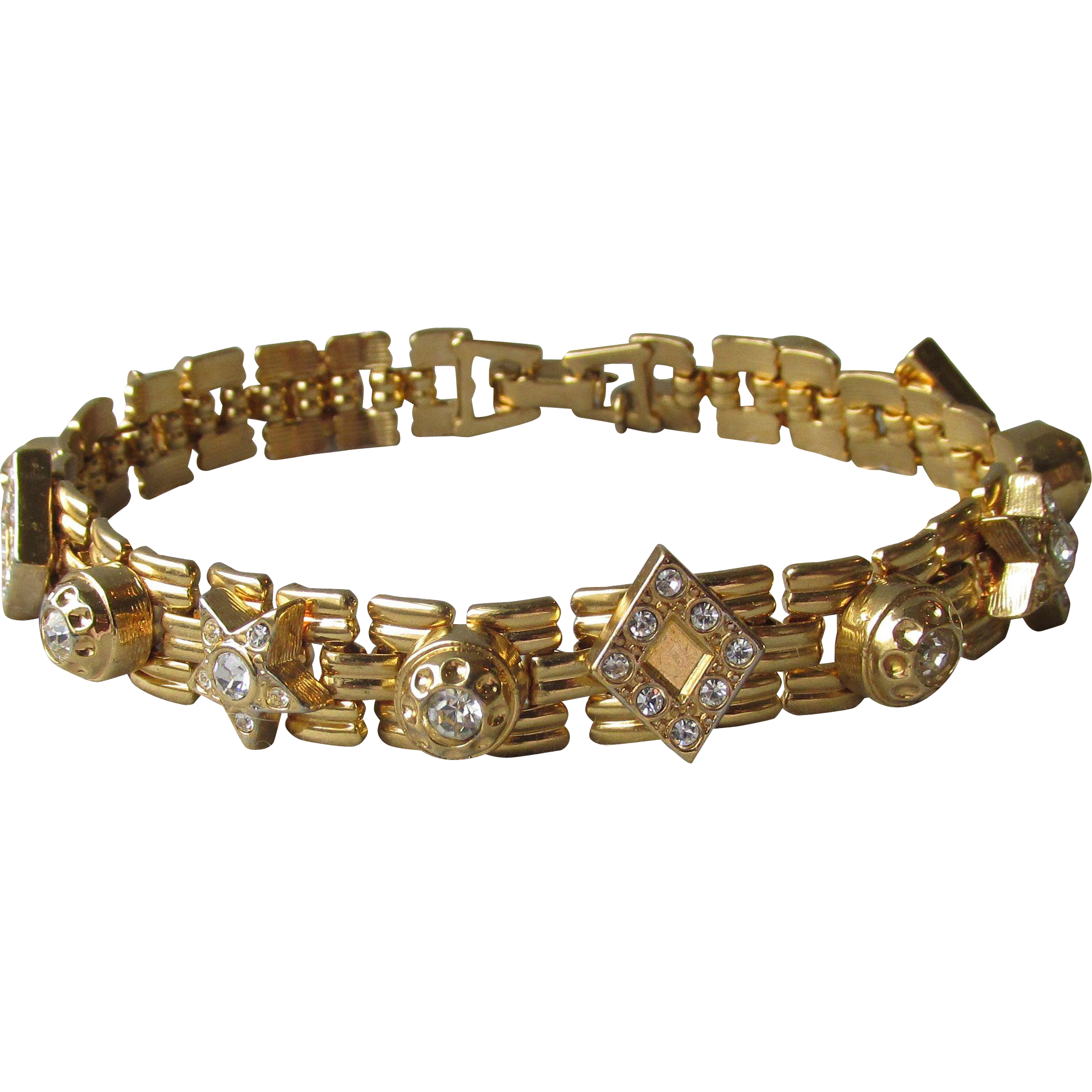 "Joan Rivers Vintage ""Classics Collection"" Rhinestone Star Charm Link Bracelet, Book Piece!"