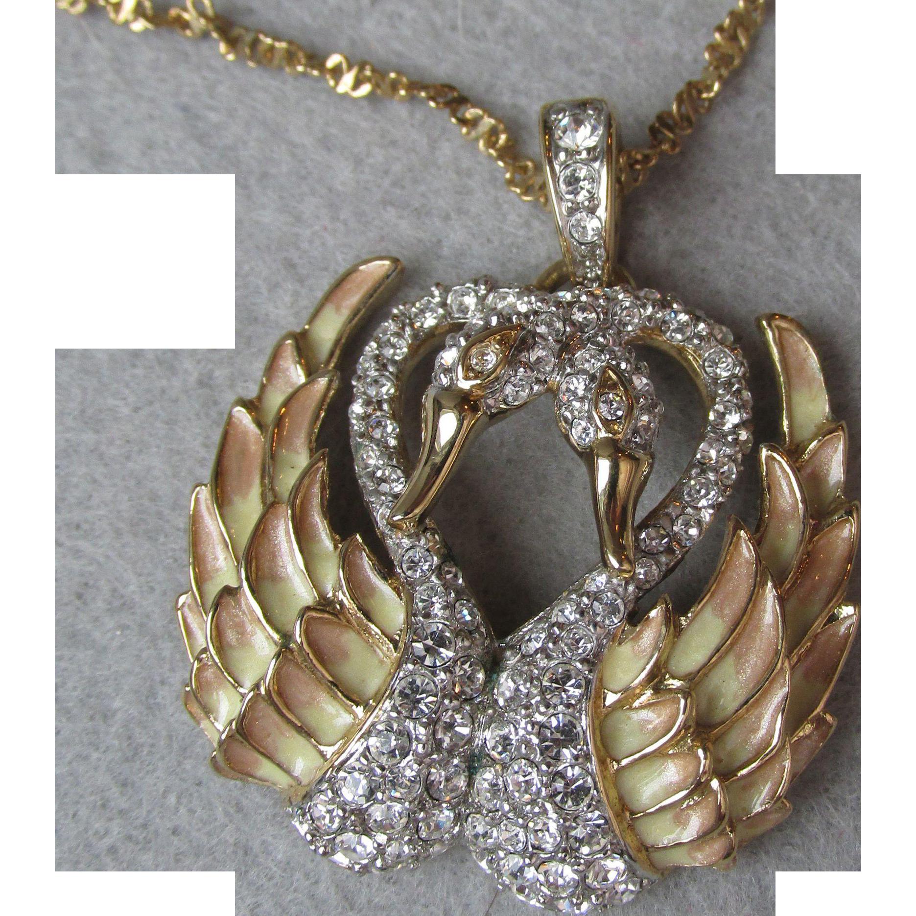 Signed Nolan Miller Two Swans Rhinestone & Enamel Vintage Necklace