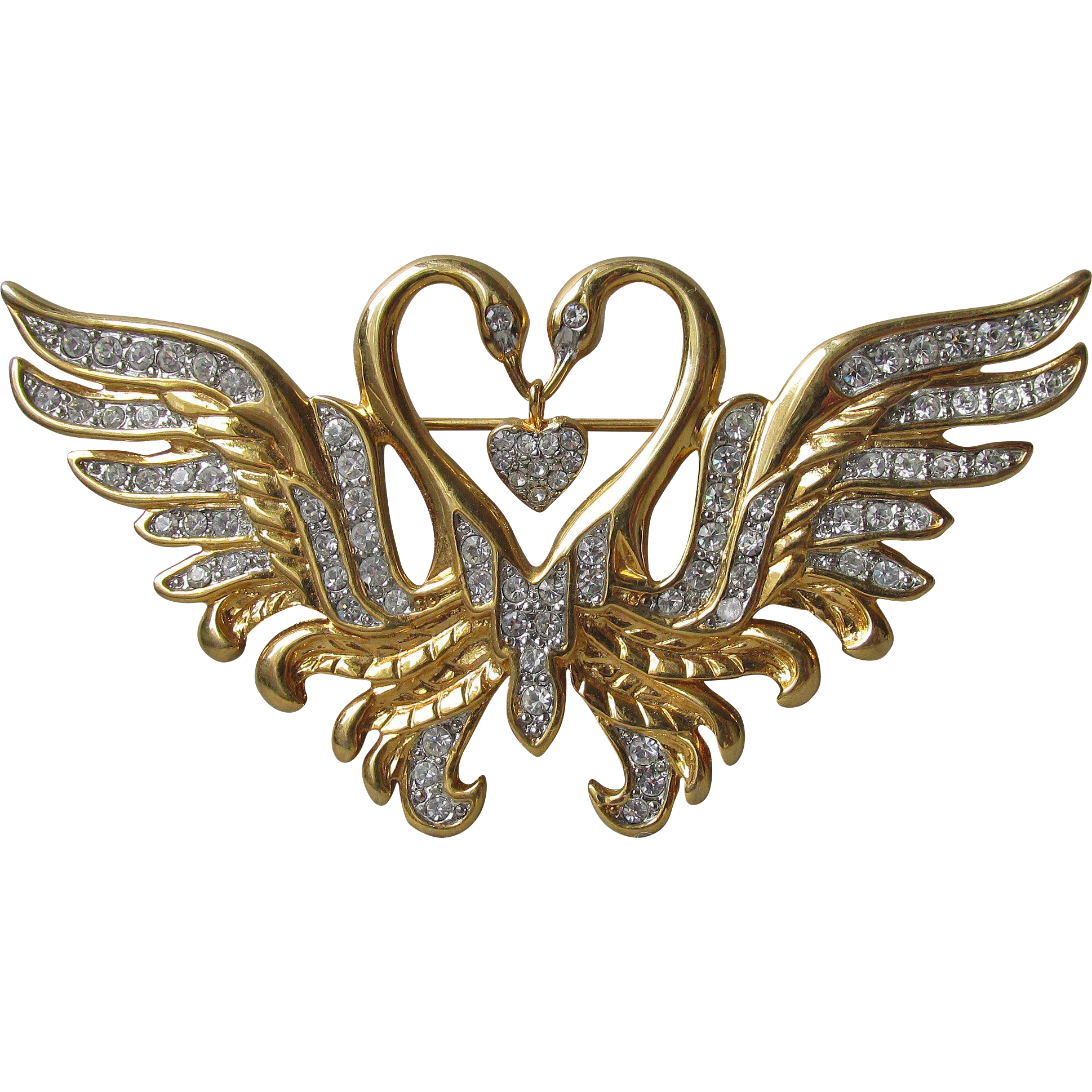 Signed Nolan Miller Two Swans with Dangling Heart Rhinestone Vintage Pin