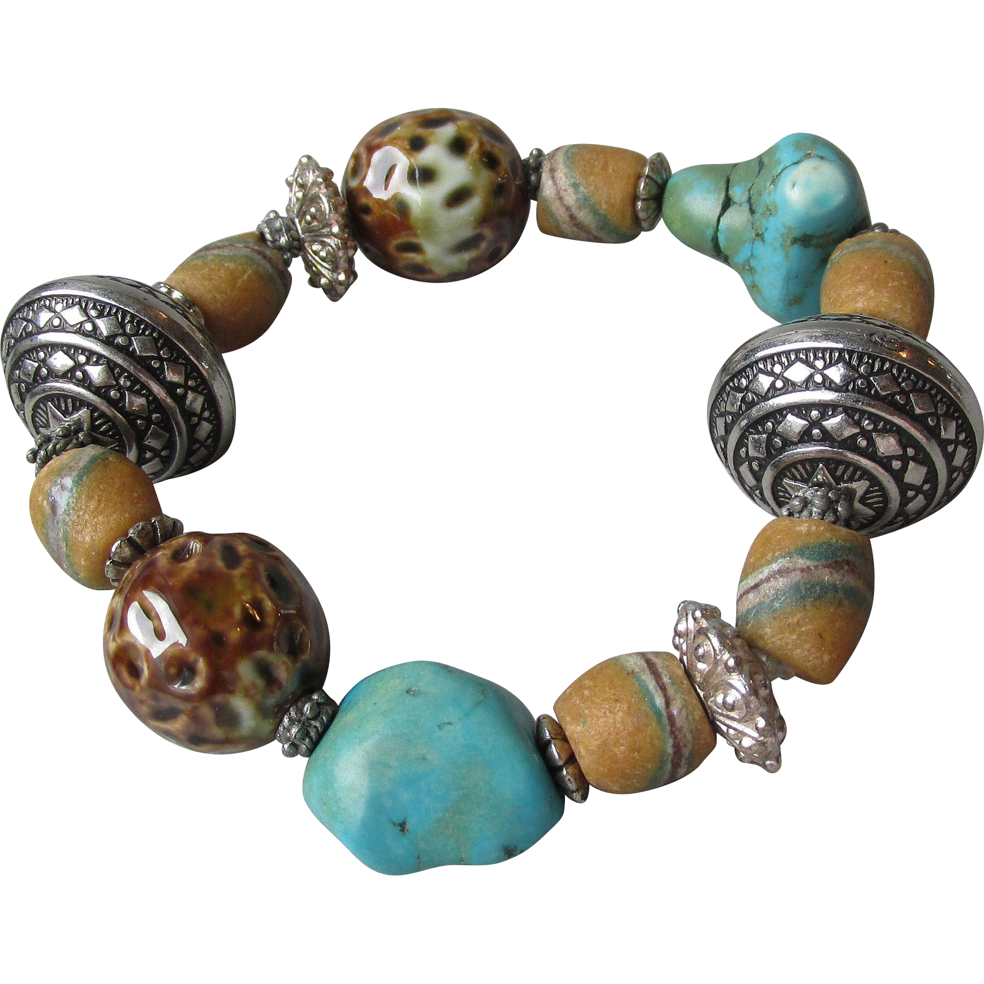 """My Secret Garden"" Lampwork Art Glass Bead Artisan Stretch Bracelet, ""African Turquoise Trade"" #B4"