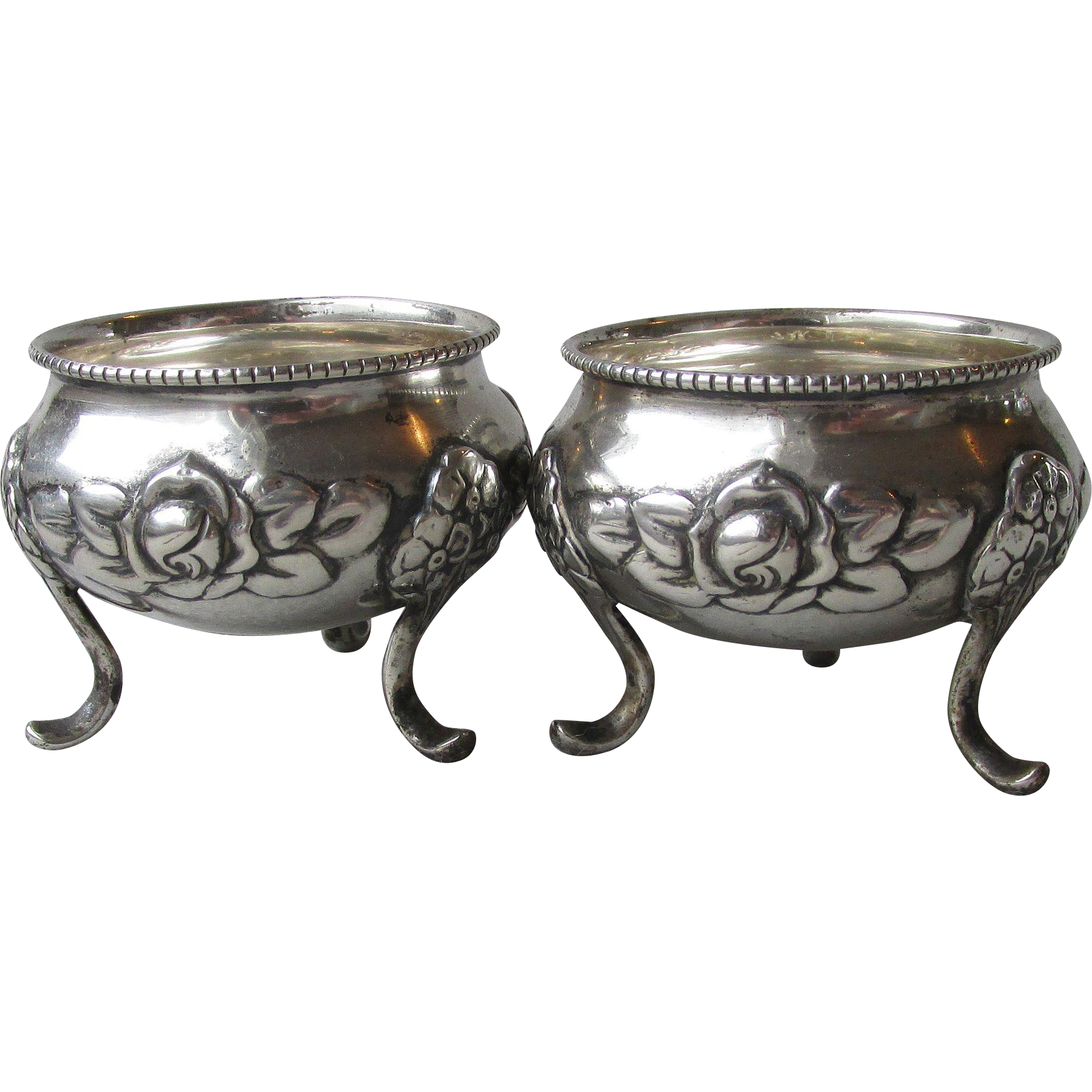Pair of Antique Norwegian 830 Silver Footed Salt Cellars, Roses