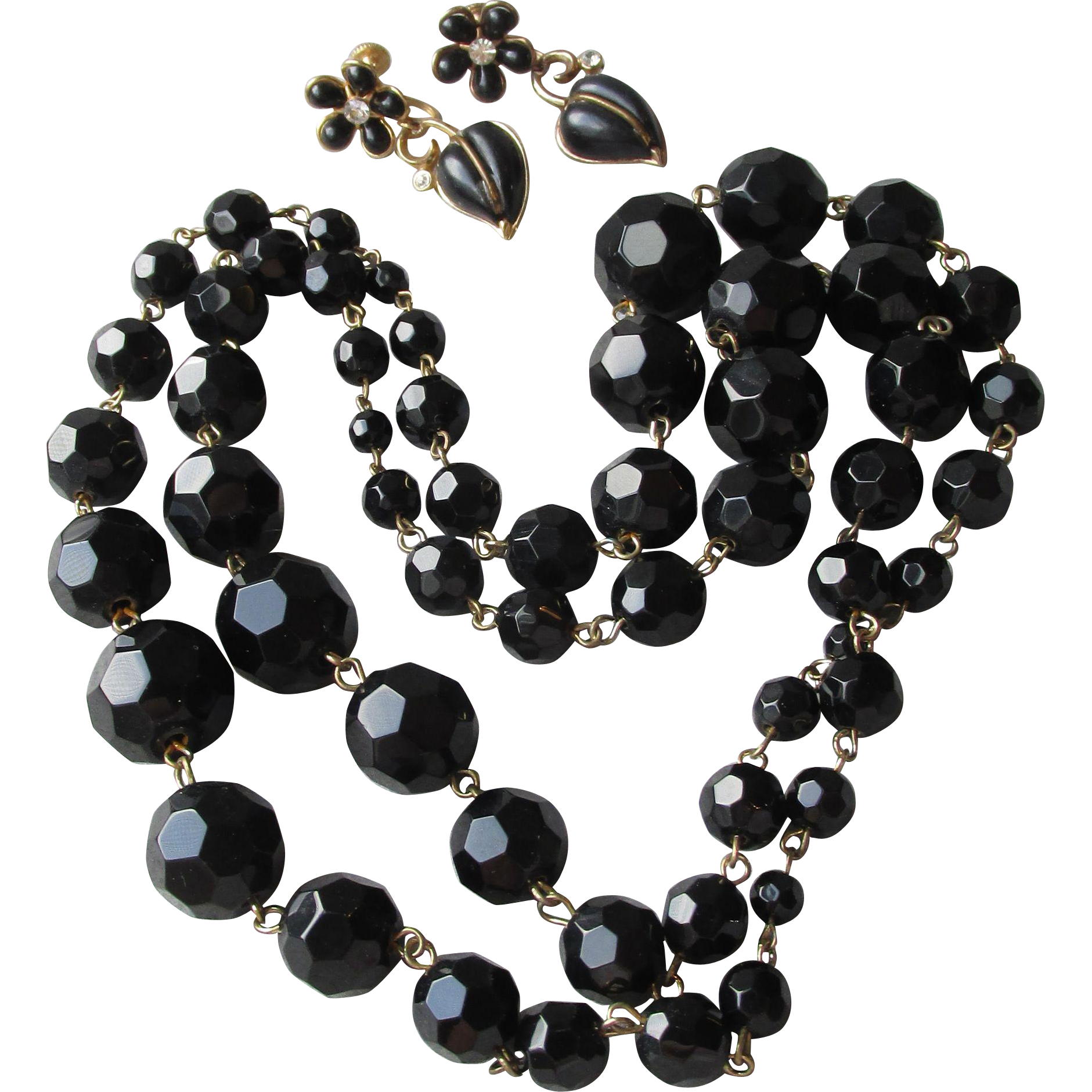 "Long 37"" Heavy 1950's Vintage Faceted Black Glass Bead Necklace"