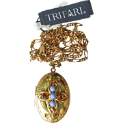 NEW Vintage 1990's Trifari Enamel, Baby Blue Cabochon & Rhinestone Nouveau Revival Locket Necklace
