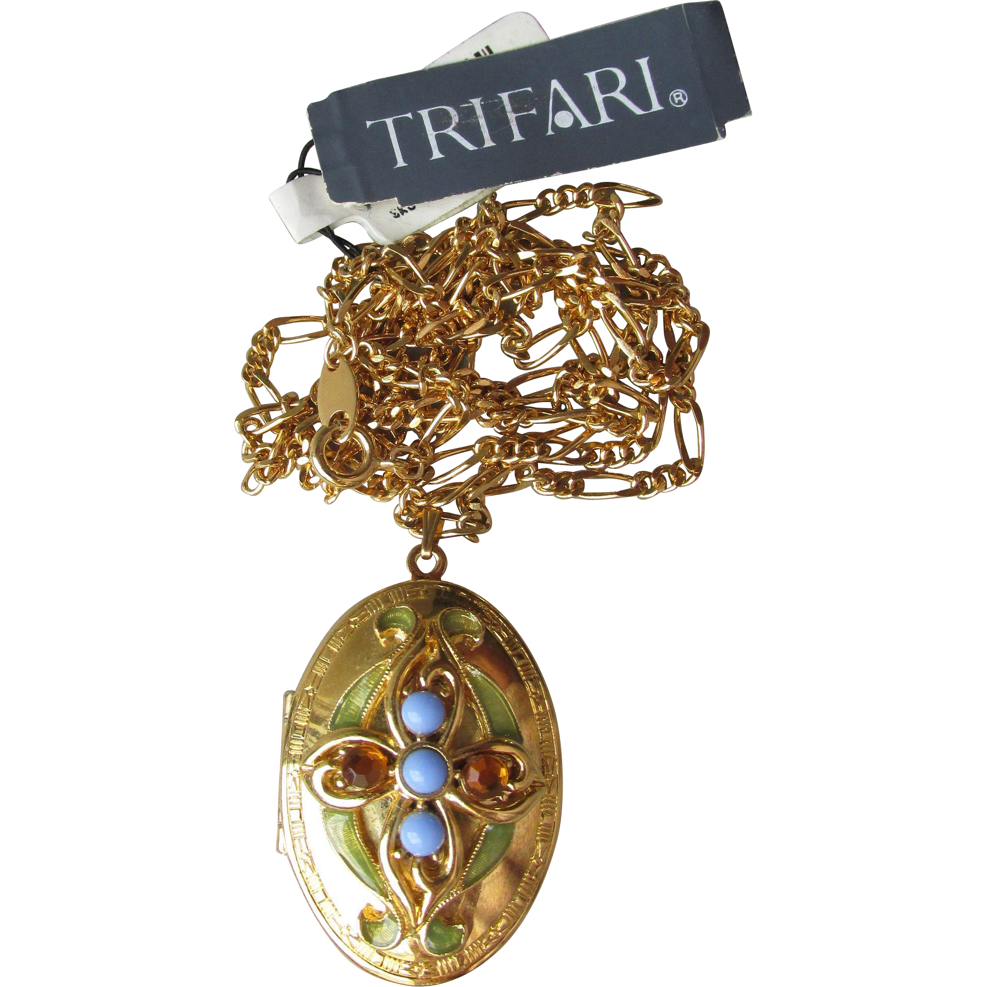 NEW Vintage 1990's Trifari Enamel, Baby Blue Cabochon & Rhinestone Nouveau Revival Locket Necklace