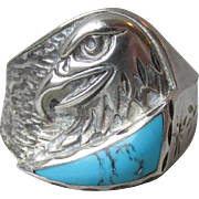 Mens or Ladies Vintage Signed Silver Cloud Navajo Sterling Silver & Turquoise Eagle Ring, Size 10