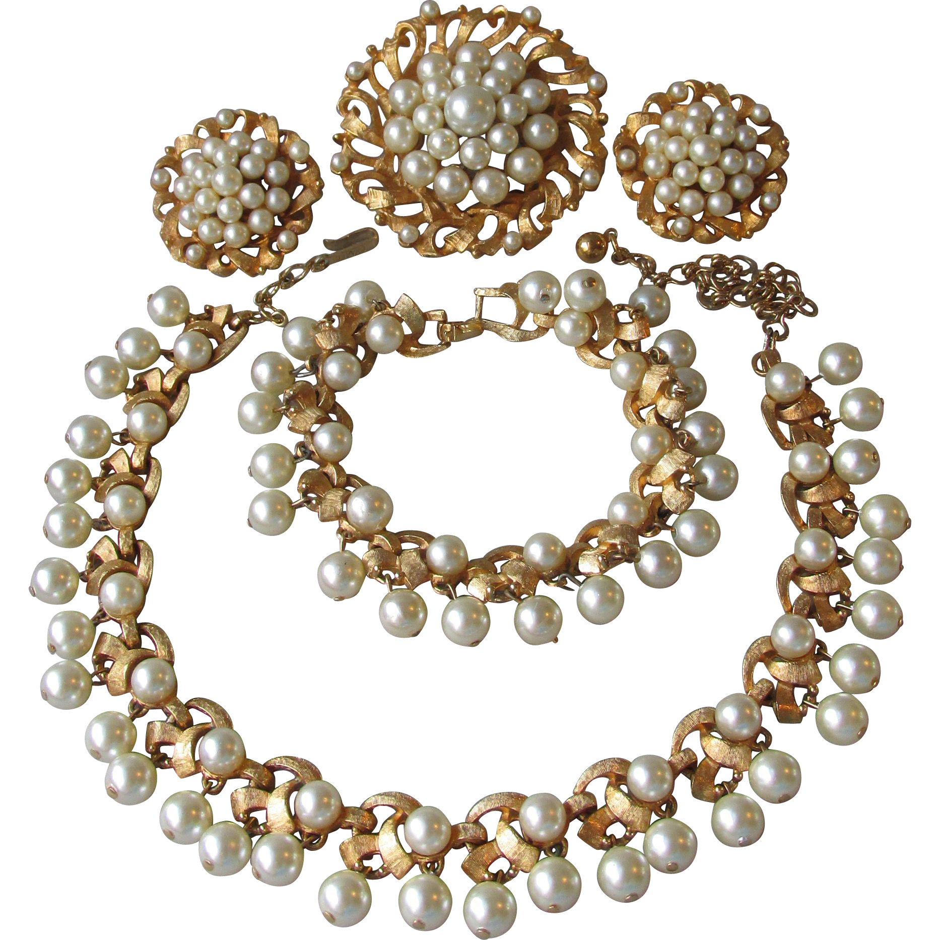 Vintage 1950's Estate Signed Charel Four Piece Dangling Faux Pearl Parure, Mint In Box!
