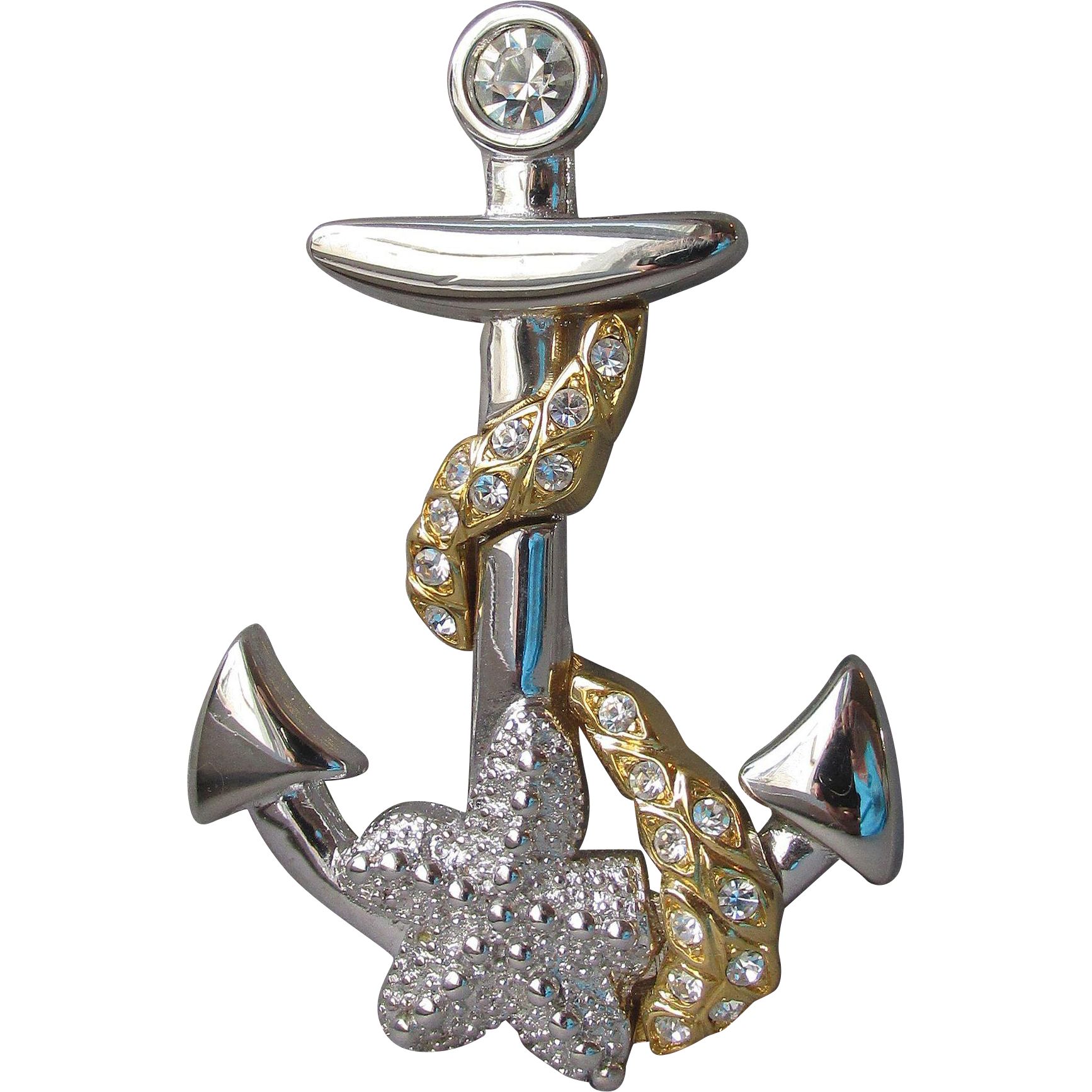 BIG Vintage Kenneth Jay Lane Nautical Pin or Pendant, Rhinestone Gold Tone Anchor, Rope & Starfish Brooch