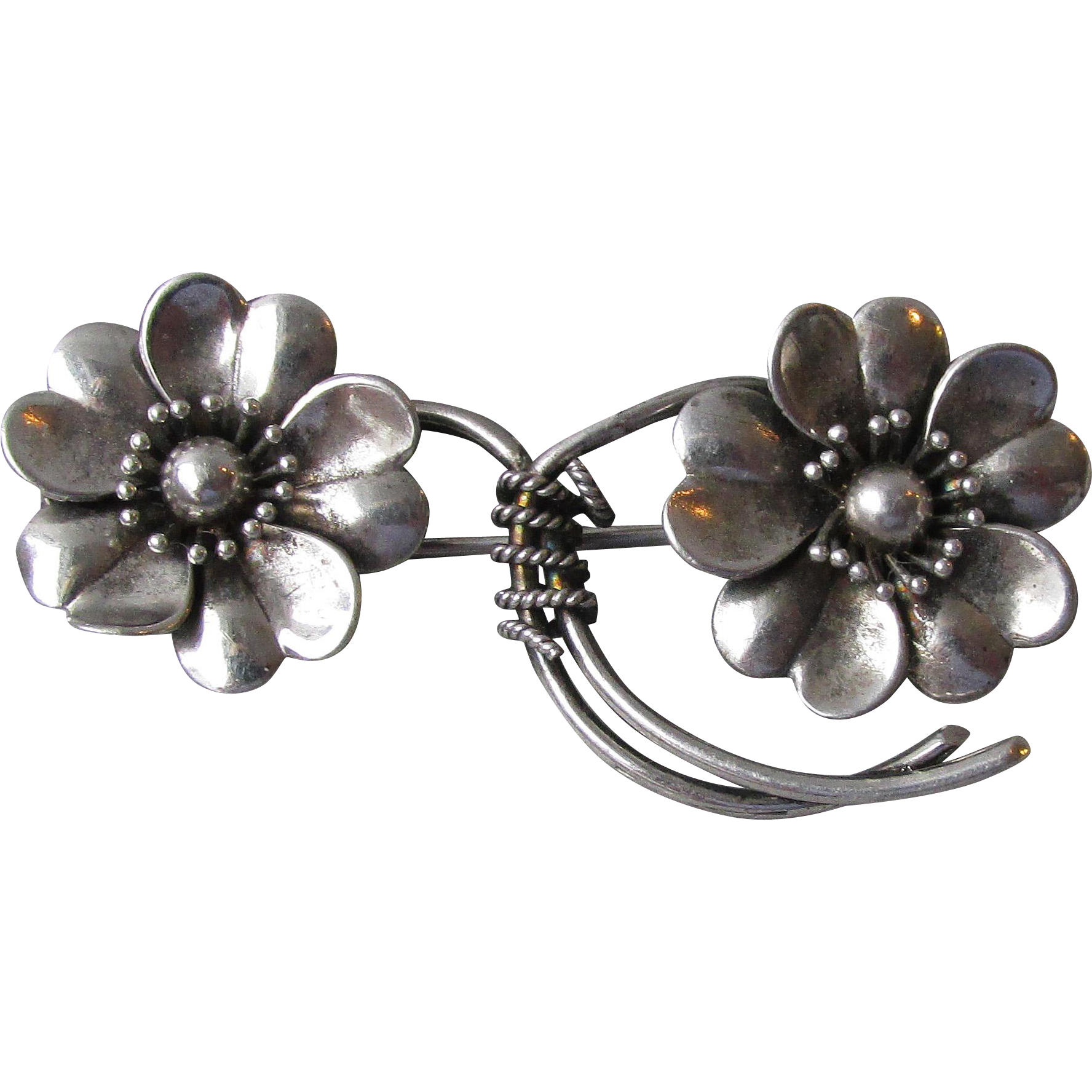 Pretty Antique Victorian Sterling Silver Two Flower Pin