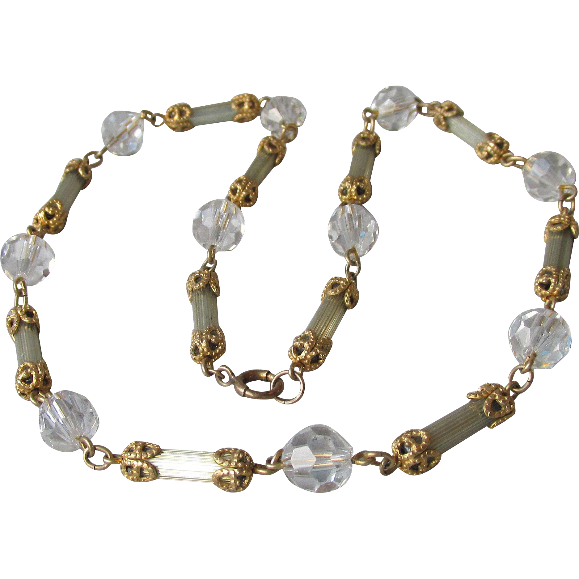 Gorgeous Vintage 1920's Crystal Bead & Glass Tube Flapper Necklace