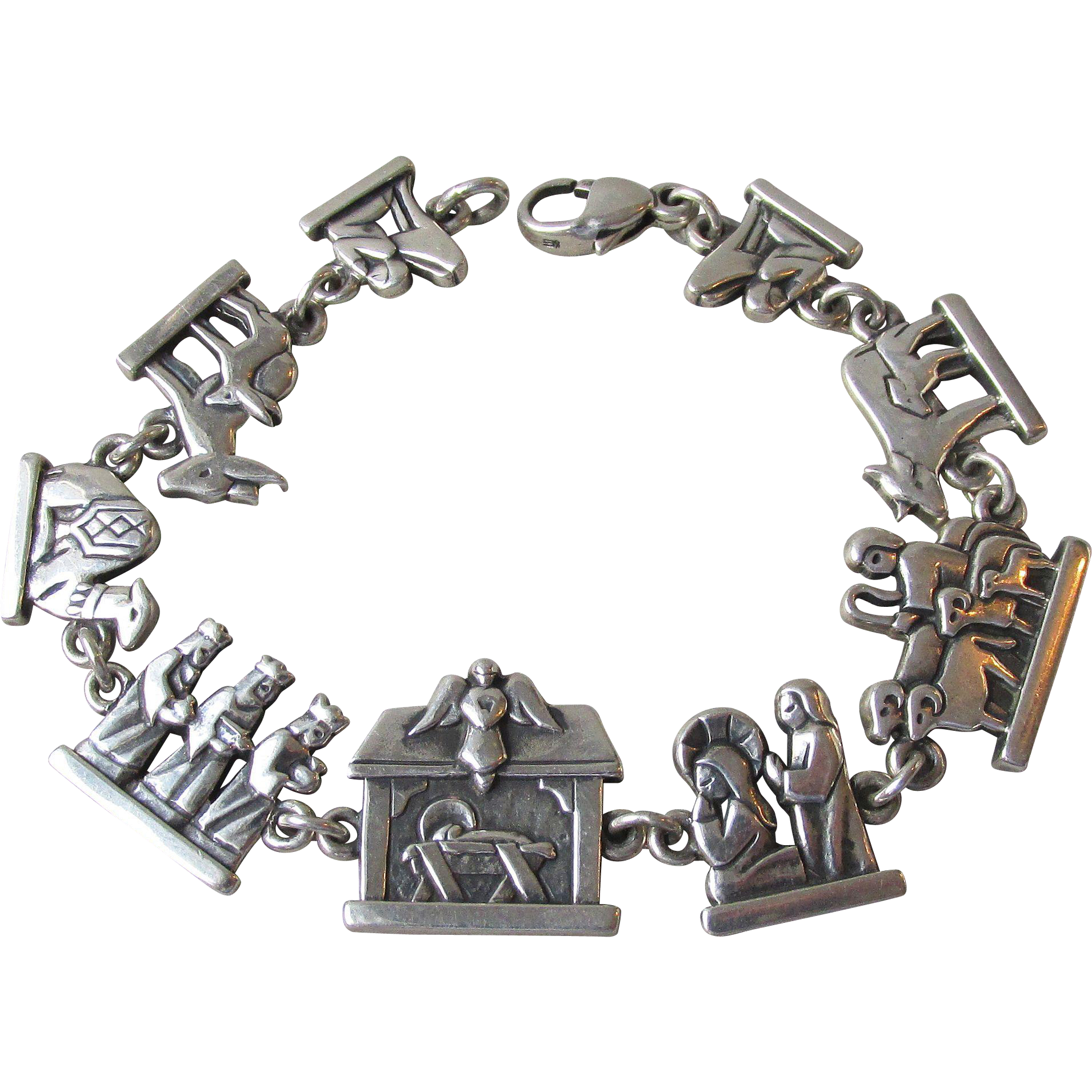James Avery Sterling Silver Nativity Link Vintage Bracelet