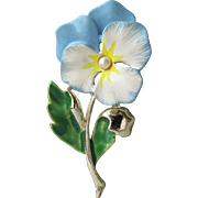 1960's Vintage Signed Gerry's Enamel & Faux Pearl Blue PANSY Pin