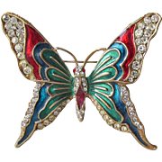 Vibrant Multi Color Enamel & Rhinestone Butterfly Pin, Vintage Brooch