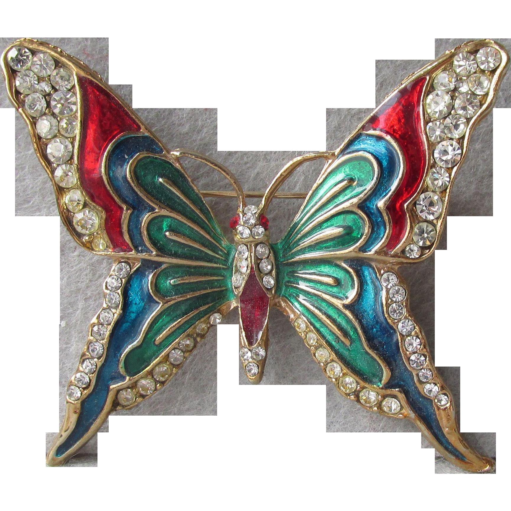 Vibrant Multi Color Enamel & Rhinestone Butterfly Pin, Vintage Brooch