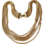 Vintage Six Strand Gold Tone Snake Chain Bib Necklace