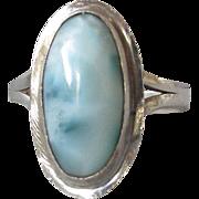 Pretty Sterling Silver Vintage LARIMAR Pectolite Ring, Size 6.5