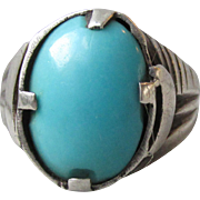 Early Native American Sterling Silver Sleeping Beauty Turquoise Ring, Size 9 Unisex with Crescent Moon