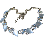 Signed LISNER Vintage Glowing Baby Blue Molded Glass Leaf Rhinestone Necklace, Free TLC Bracelet!