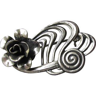 Antique Sterling Silver Art Nouveau ROSE Flower Pin, Signed Jewelart
