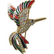 Gorgeous Colorful Enamel & Rhinestone Vintage HUMMINGBIRD Pin