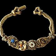 Signed Goldette 4 Slide Charms 1960's Vintage Bracelet