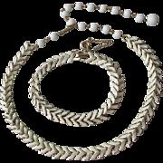 Signed CORO White Enamel Modernist Chevron Link Necklace & Bracelet Set, 1950's Vintage Demi Parure