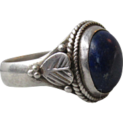 Pretty Heart Feather Sterling Silver Denim Blue Lapis Lazuli Vintage Ring, Size 8