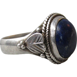 Pretty Heart Feather Sterling Silver Denim Blue Lapis Lazuli Vintage Ring, Size 8