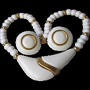 1970's Vintage Modern Signed NAPIER White Enamel Necklace & Earrings Set