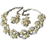 Pretty Celluloid Ivory Roses, AB Rhinestone, White Enamel Necklace & Earrings Set, 1950's Demi Parure